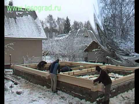 Строительство дома из клееного бруса, часть 2. Монтаж обвязки и перекрытий