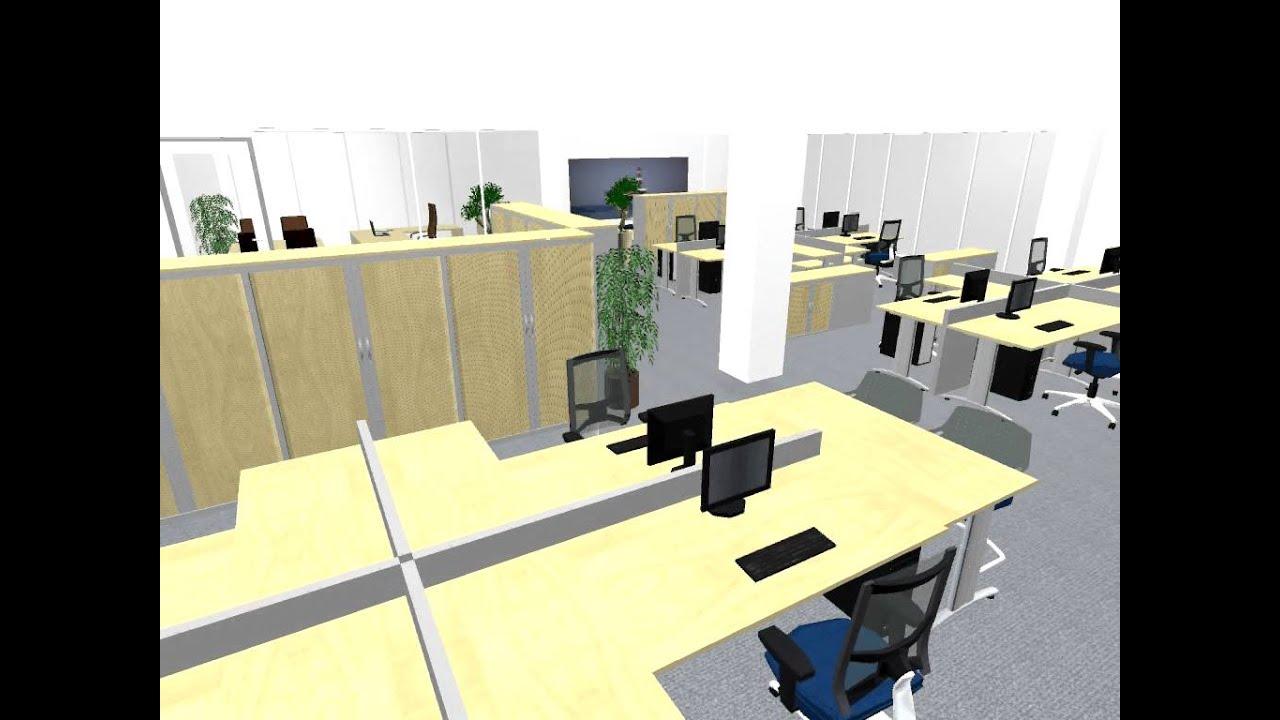 Kantoorinrichting 3d getekend omgezet naar video youtube for 3d interieur ontwerpen gratis