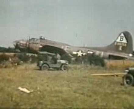 B17 1944  being towed from a corn field at Podington air base Bedfordshire uk WW 2.