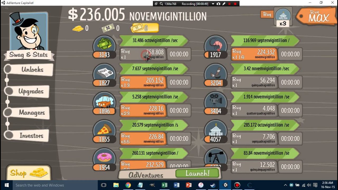How to hack Adventure Capitalist {Steam} with Cheat Engine (game ver  2 0 1 25)