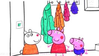 Drawing and Coloring to Learn Colors w/ Peppa, George and Susy Coloring Book Page / Fun Colors