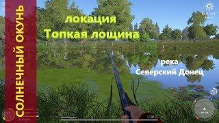 Русская рыбалка 4 река Северский Донец Солнечный окунь у берега