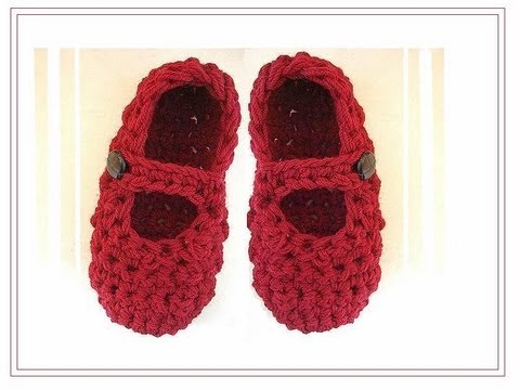 CROCHET MARY JANES STRAP SLIPPERS - YouTube