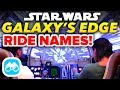 Galaxy s Edge RIDE NAMES ANNOUNCED for Star Wars Land  - Disney News Update