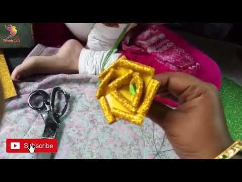 DIY - Easy Glitter Foam Sheet Flower Roses  How to make realistic& easy foam sheet rose  craft ideas