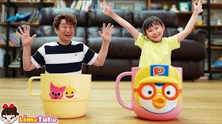 라임의 마법 컵속 여행! 뽀로로 핑크퐁 상어가족 수영장 키즈카페 놀이 Play with colored cups! magical video!  LimeTube toy review