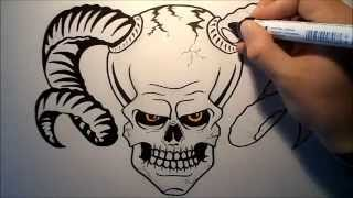 How to draw a Skull with horns