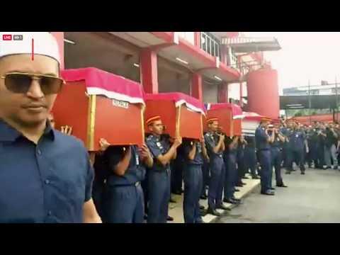 Solat jenazah enam bomba lemas di BBP  Seksyen 15 Shah Alam