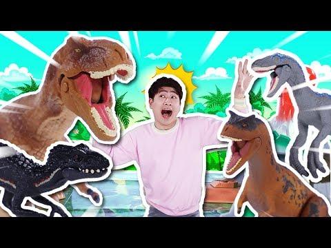 공룡의 왕은 누구?! 쥬라기 볼케이노 어드벤처 공룡 장난감 놀이 - 강이