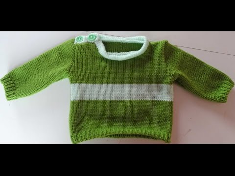 0- 3 MONTHS SWEATER WITH BUTTON HOLE SHOULDER OPENING LK150 KNITTING MACHINE