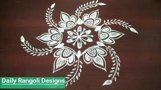 latest rangoli designs with 5 dots    simple kolam designs    easy muggulu designs