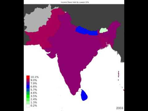 South Asia - Income Share Held By Lowest 20% - Time Lapse