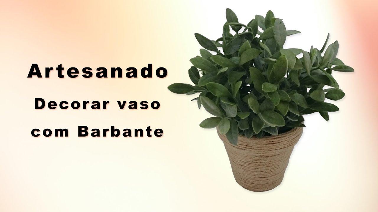 Artesanato como decorar um vaso de planta com barbante - Decorar vasos plasticos para cumpleanos ...
