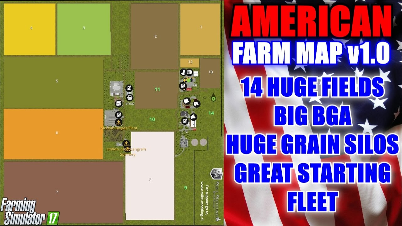 Farming Simulator 17 American Map.Farming Simulator 17 American Farm Map V1 0 Map Mod Review Youtube