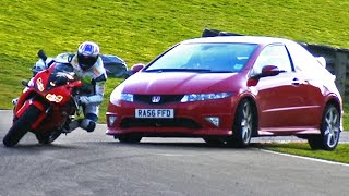 Honda Civic Type R vs. CBR 1000RR #TBT - Fifth Gear