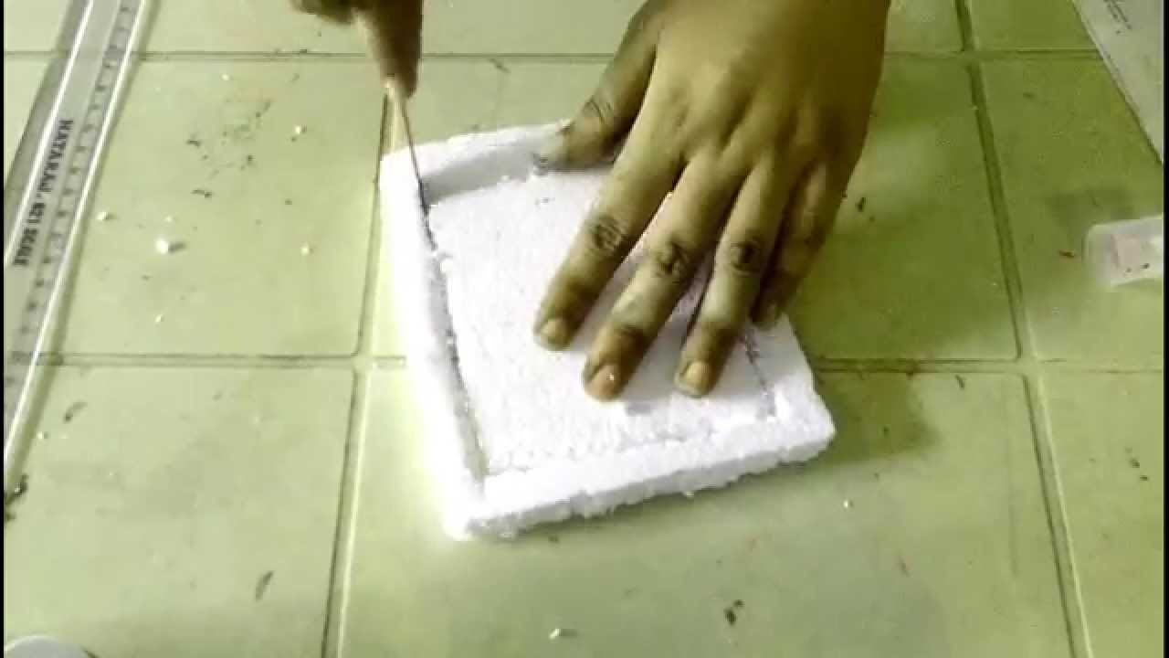 How to make a simple thermocol photo frame youtube for How to make cement at home