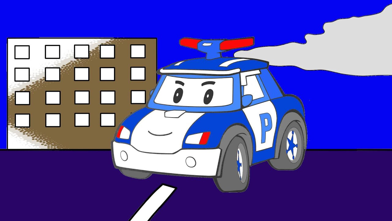 Les couleurs robocar poli l 39 h licopt re la voiture de police youtube - Coloriage helicoptere cars ...