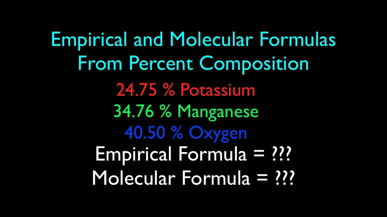 Empirical And Molecular Formula From Percent Composition No 2