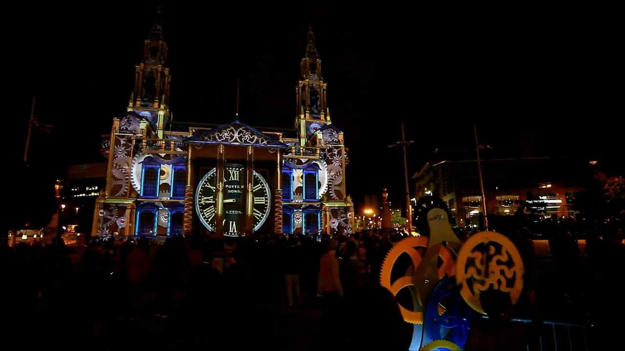 Giant Clockwork A.K.A (Momentous) Projected On To Leeds Civic Hall