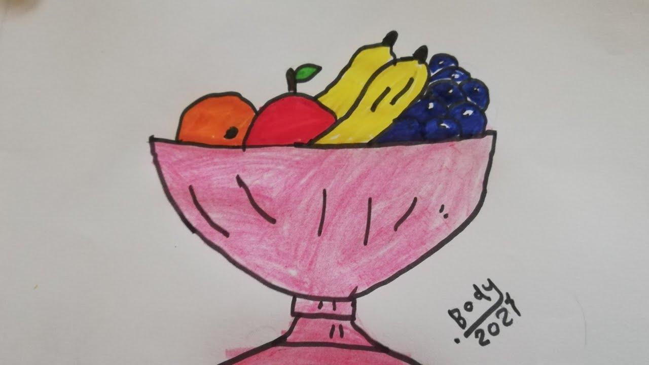 كيفية رسم سلة الفواكه للمبتدئين رسومات كيوت رسومات جميله وبسيطة تعليم الرسم للأطفال Youtube
