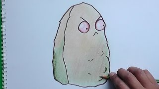 Dibujando y coloreando a Nuez Gigante (Plantas vs Zombies) - Drawing and coloring Giant Nut
