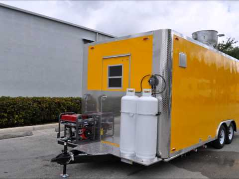 8.6x20 Yellow Concession Trailer (with TV & bathroom)