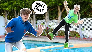DON'T FALL Into The Pool CHALLENGE ft. Stephen Sharer **BAD IDEA**