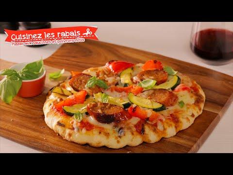 cuisinez-les-rabais---recette-rapide-de-pizzas-aux-saucisses-et-poivrons-rôtis