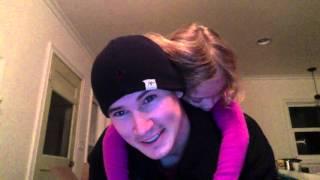 Cute little girl falls asleep on Daddy's back