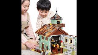 Строительные блоки модели город старая рыбалка магазин наборы блоков создатель улица вид