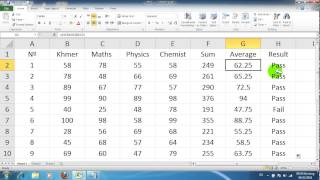 vuclip How to use if formula for Pass and Fail in excel [khmer]