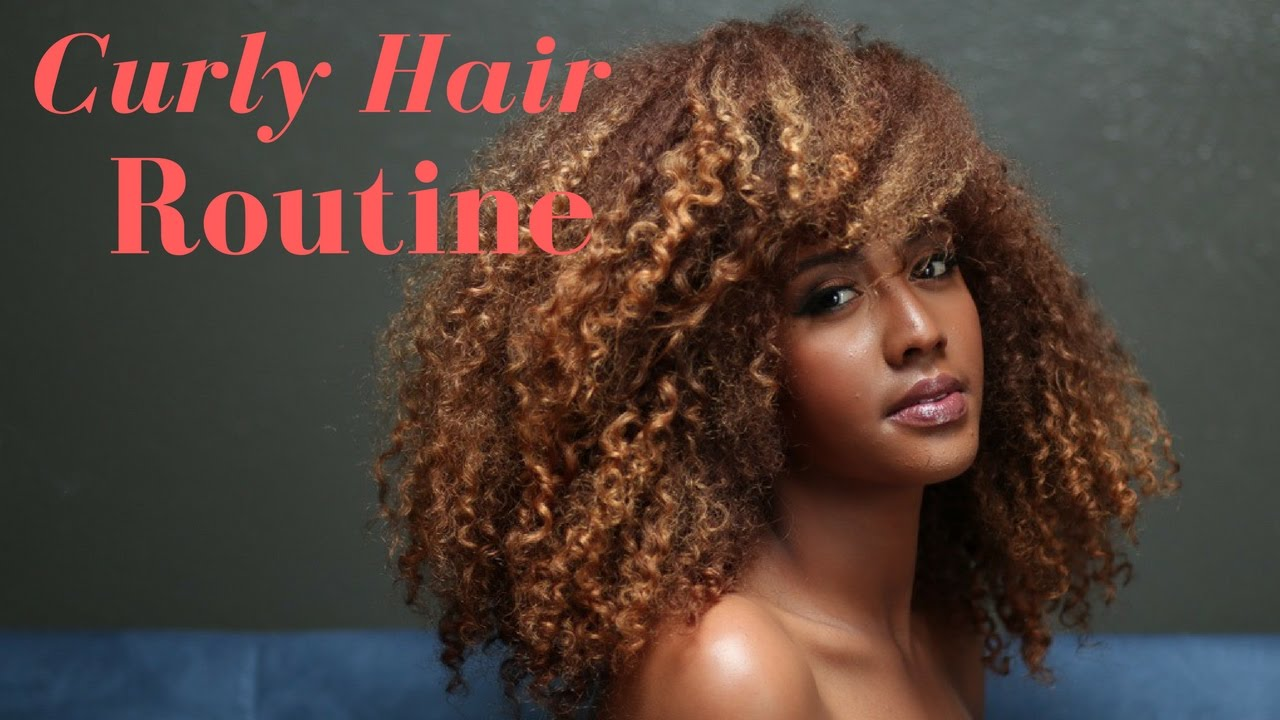 My Curly Hair Routine( Straight to curly)| Colored Curly ...