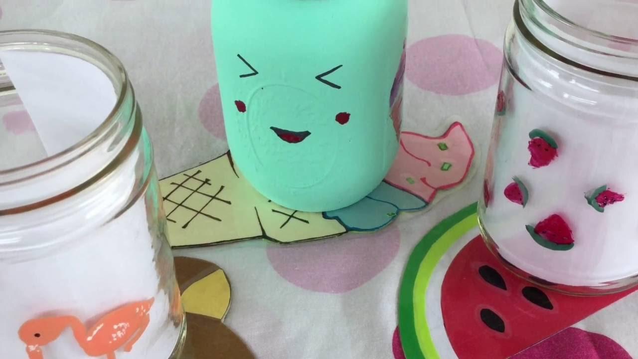 Transforma tus frascos con esmalte para este verano!! - YouTube