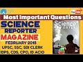 Most Important Questions From Science Reporter Magazine February 2018 For All Exams