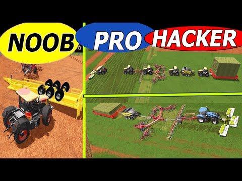 Farming Simulator 17: NOOB vs PRO vs HACKER !! 🤪🤓👻   Grass Job!, 5 in 1, Mower, Tedder, Windrower
