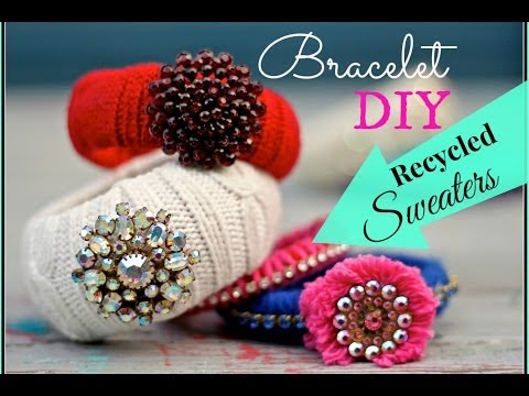 how to recycle a sweater into Bracelets made from Thrift Store Sweaters and costume jewelry