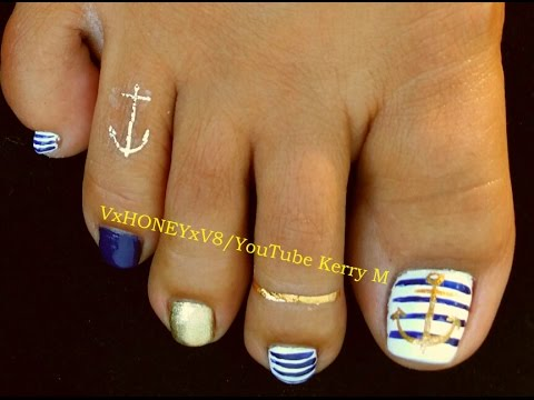 Toenail Art Designs Step by Step Instruction: Anchors & Stripes - Toenail Art Designs Step By Step Instruction: Anchors & Stripes