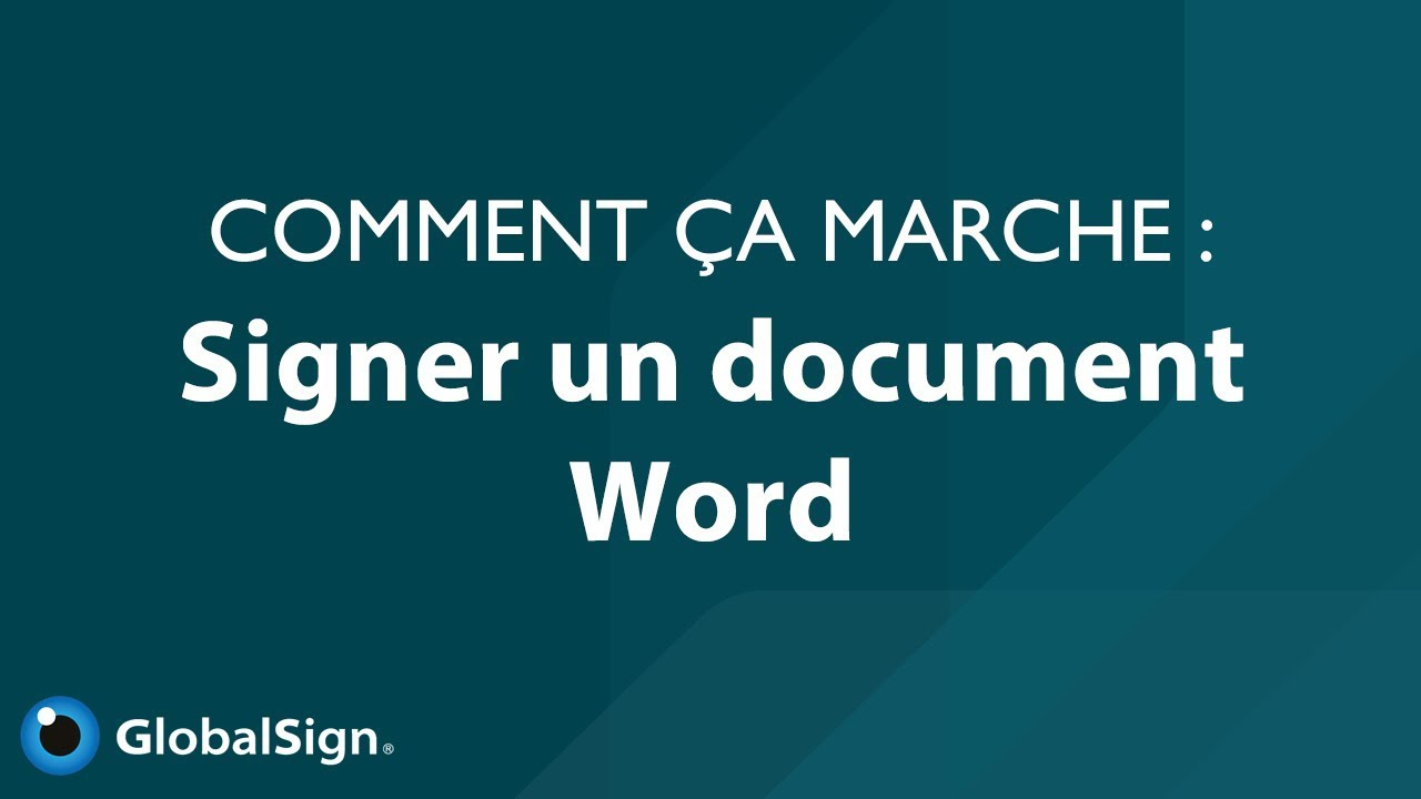 Comment Signer Un Document Word Youtube