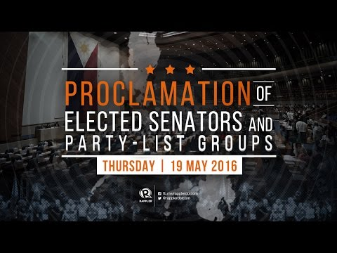WATCH: Proclamation of senators-elect, 19 May 2016