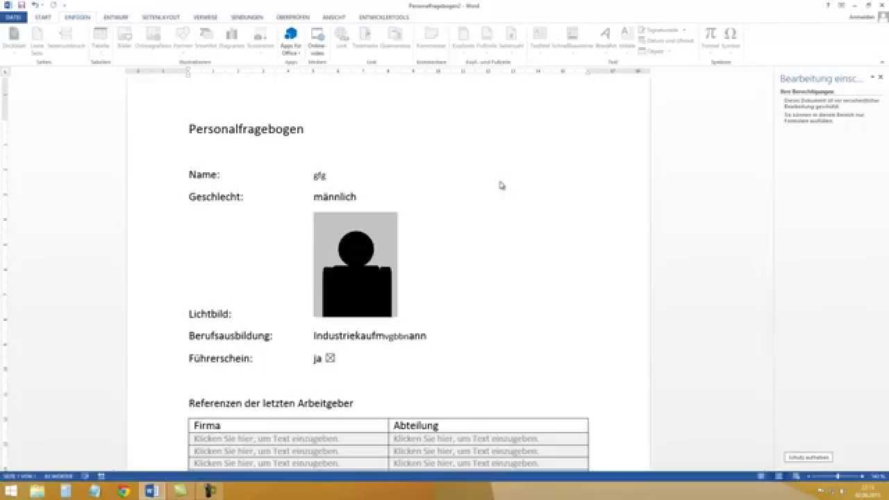 Formular Erstellen In Word 2013 2010 Youtube
