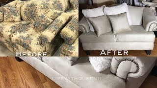 HOW TO REUPHOLSTER A COUCH /SOFA Part 1 - LifeWithQueenii