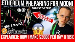 GIANT ETHEREUM BULLFLAG! Will Bitcoin Break $10,500!? I Make $2000 a day RISK FREE TRADING EXPLAINED