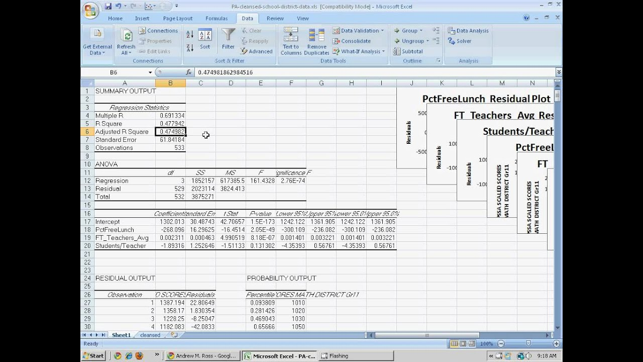 Multivariate regression in Excel using the Data Analysis addin – Data Analysis Excel