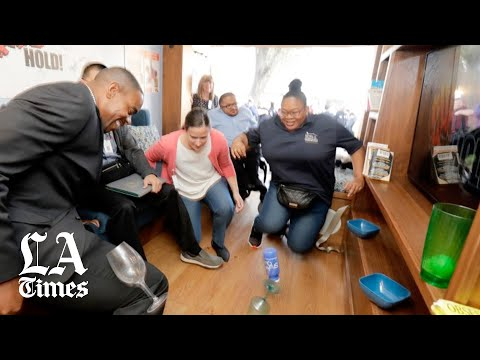 Participants experience a magnitude 7.1 earthquake in a simulator