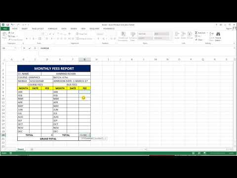 How To Make Fees Report Card In Ms Excel - YouTube
