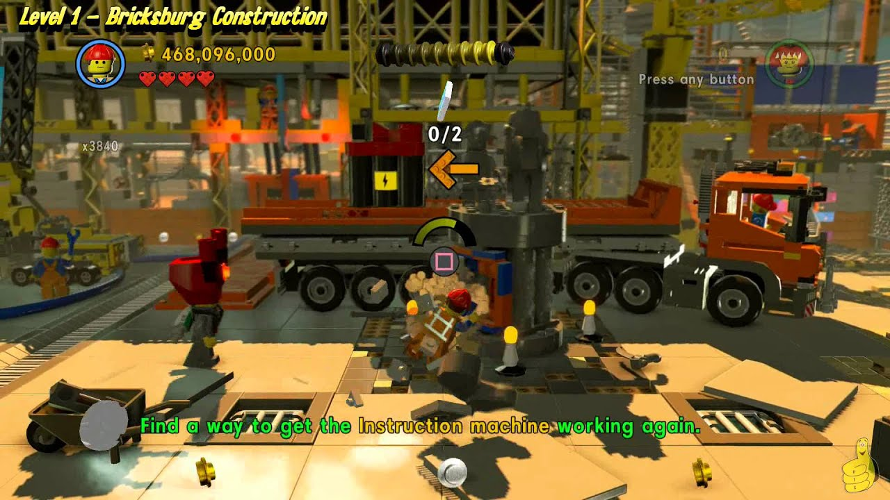 The Lego Movie Videogame: Level 1 Bricksburg Construction - FREE PLAY - (Pants & Gold Manuals) -