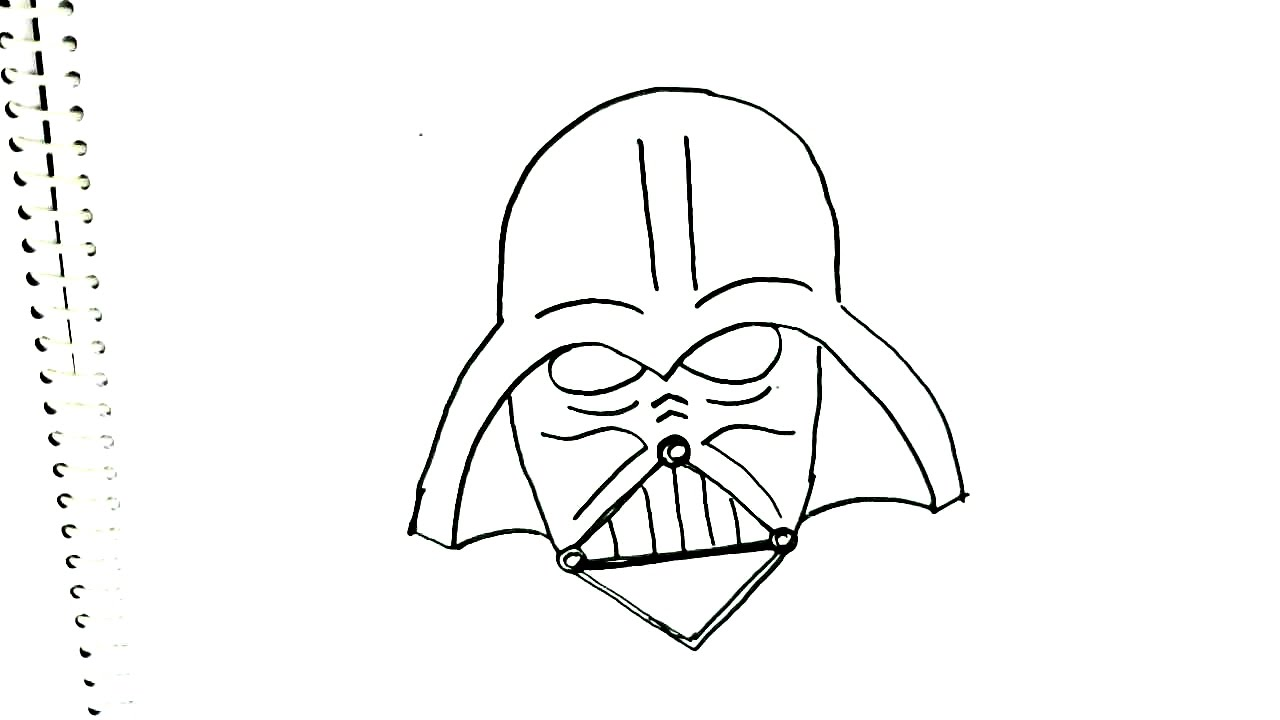 How To Draw Darth Vader Mask Star Wars In Easy Steps For Children
