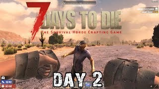 7 Days To Die | Day 2 | Boxing Zombies! (Alpha 18 Random Map Playthrough)