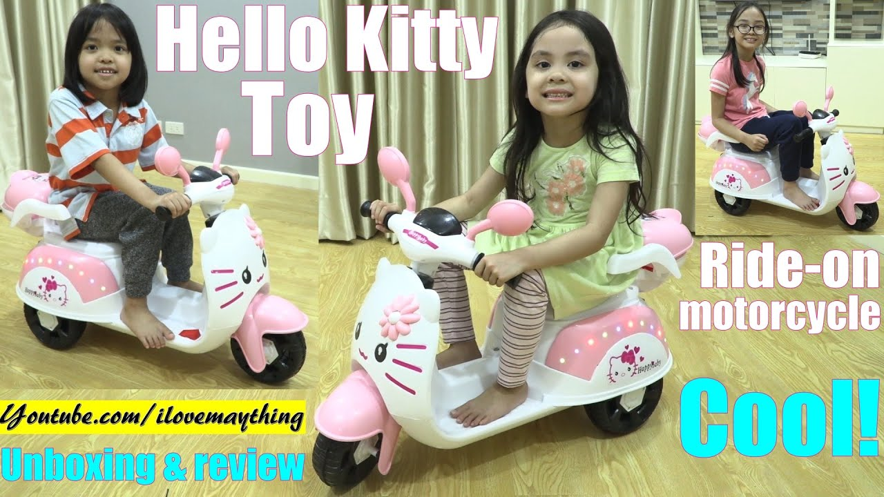 Fun Ride-On Toys for Kids! A Pink HELLO KITTY Ride-On Motorcycle Unboxing, Review and Playtime. Fun!