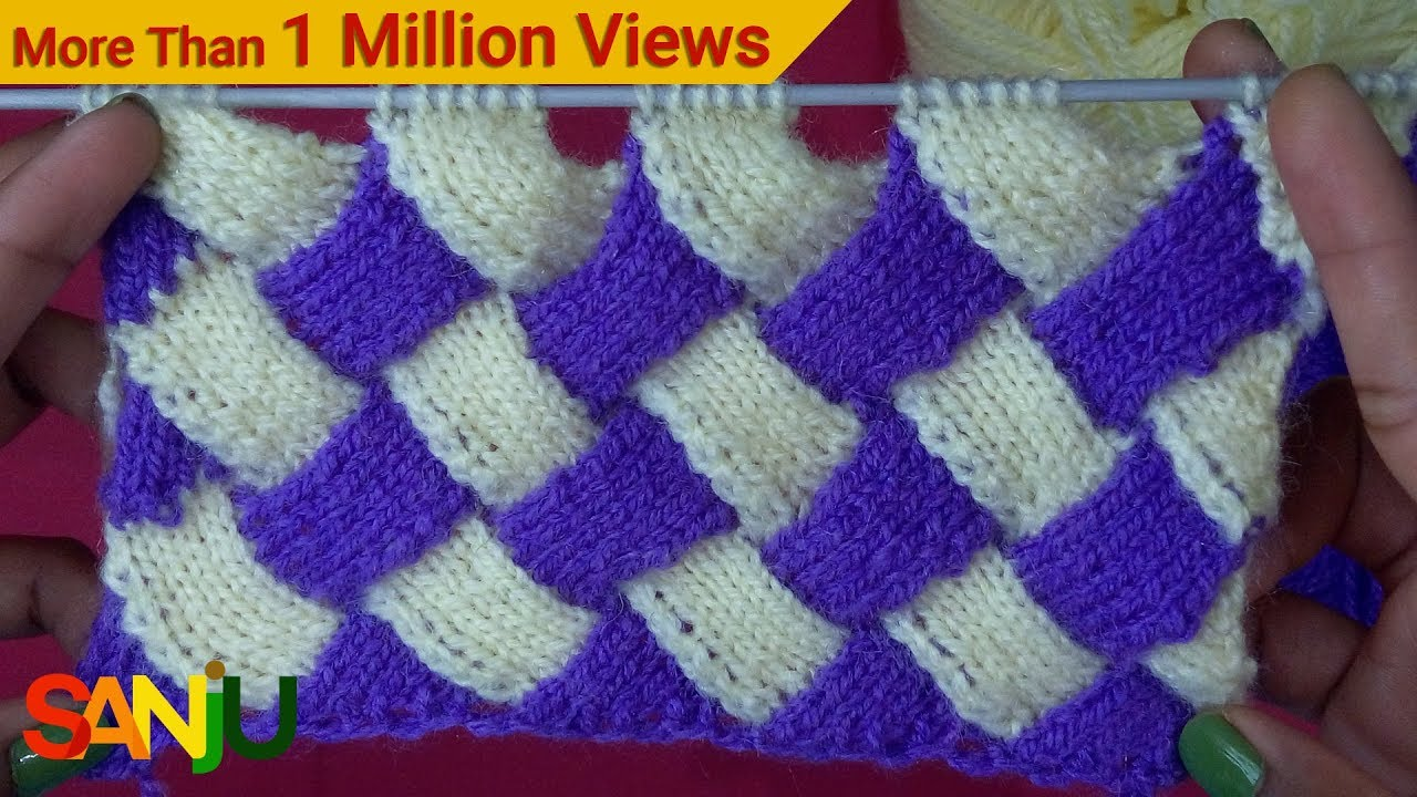 Interlock knitting pattern design - YouTube